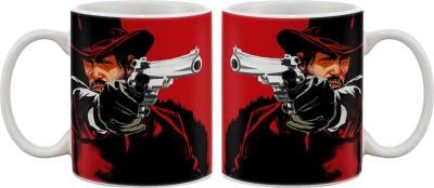 Artifa Man With Hat Shooting Porcelain, Ceramic Mug