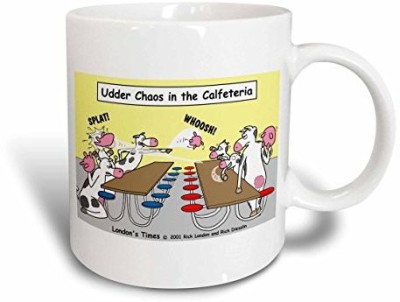 3dRose Udder Chaos Cow Food Fight Ceramic, 15 oz, White Ceramic Mug(60 ml) at flipkart