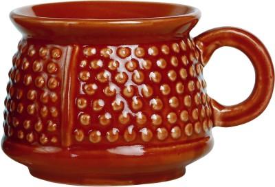 Caffeine Tea Cup Stoneware in Ivory Red Bubble Chiraag (Set of 1) Handmade Ceramic Mug