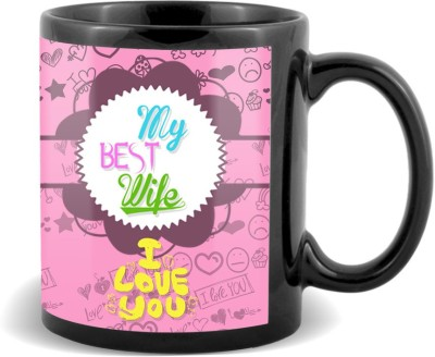 SKY TRENDS GIFT My Best Wife I Love you With Pink Floral Background Stylish Gifts For Birthday And Anniversary Black Coffee Ceramic Mug