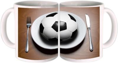 Shopkeeda FIFA 2014 Two Football Holding Flag Ceramic Mug