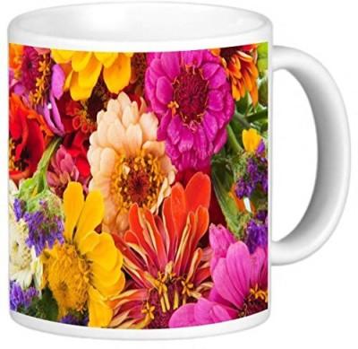 Rikki Knight LLC Knight Photo Quality Ceramic Coffee , 11 oz, Colorful Flower Arrangement Ceramic Mug