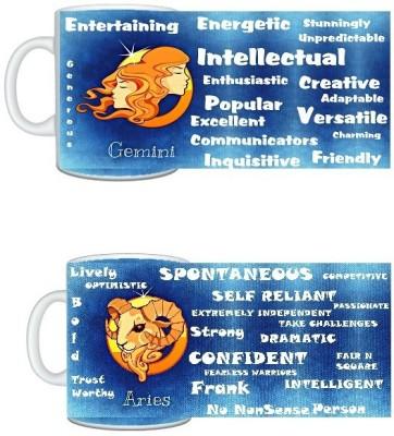 CreativesKart Zodiac Gemini (M) Aries (F) Compatibility  Ceramic Mug