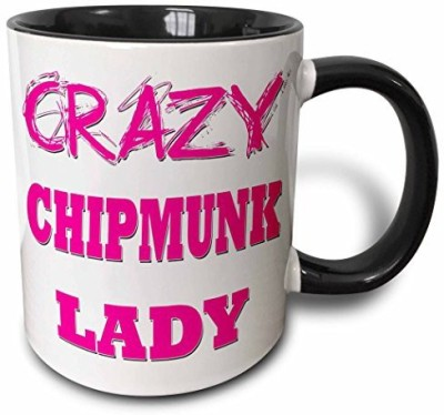 3dRose Crazy Chipmunk Lady Two Tone Black , 11 oz, Black/White Ceramic Mug