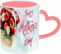 Jiya Creation1 Happy Mother's day with Pink Heart Handle Roses Pink Heart Handle Ceramic Mug(3.5 ml) best price on Flipkart @ Rs. 399