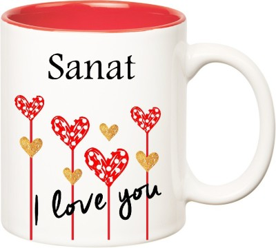 Huppme I Love You Sanat Inner Red  (350 ml) Ceramic Mug