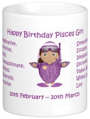 Exoctic Silver Happy Birthday Pisces Girl Ceramic Mug