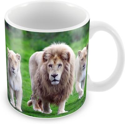 Prinzox Wildlife Lovers Lion And Lioness Ceramic Mug