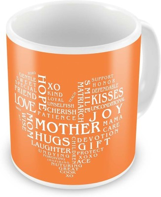 Indian Gift Emporium Heart Shape Words Collection Coffee  For Mother 515 Ceramic Mug