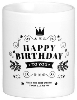 Easyhome Happy Birthday to You White Ceramic Mug