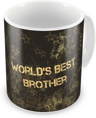 Indian Gift Emporium Worlds Best Brother Printed Fancy Black Coffee  530 Ceramic Mug
