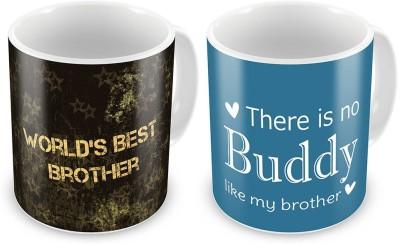 Indian Gift Emporium Fancy Design Printed Coffee s Pair For Brothers 701 Ceramic Mug