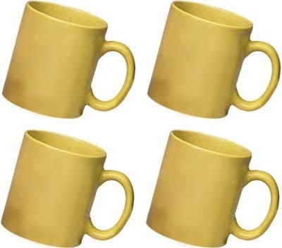 Snapgalaxy Yellow Combo of 4 pcs Ceramic Mug