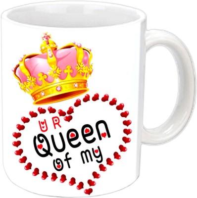 Jiya Creation Queen Of Heart Valentine White  Ceramic Mug