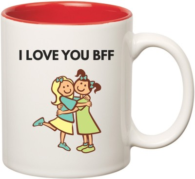 Huppme Best Friend forever Inner Red Ceramic Mug