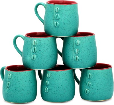 Caffeine Seagreen Buttoned Cups (2.5d, 3h) Ceramic Mug
