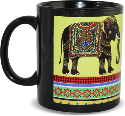 Kolorobia Jeweled Elephant Black Ceramic Mug
