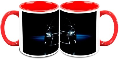 HomeSoGood Car With Glowing Headlights (Set Of 2) Ceramic Mug