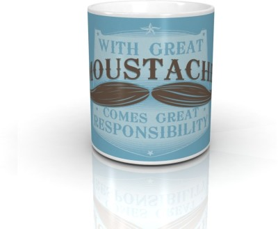 Bcreative With Great Mustache Comes Great Responsibility (Officially Licensed) Ceramic Mug