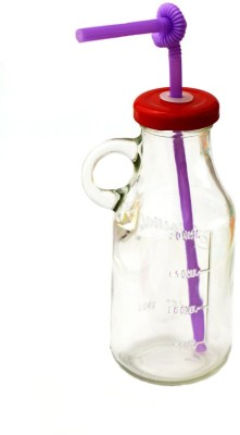 Satyam Kraft Bottle with Straw and Air Tight Cap Glass Mug