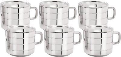 Aagam Regular 3 Ring Tea Stainless Steel Mug(80 ml, Pack of 6)