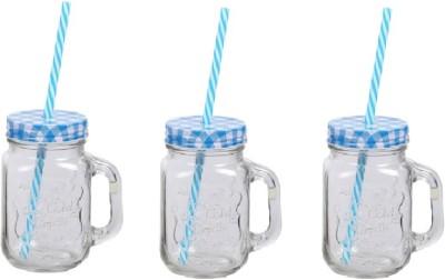 CreativesKart Checks Mason Jar Blue (Set of 3) Glass Mug