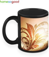HomeSoGood Leaves Around Golden Dust Ceramic Mug(325 ml)