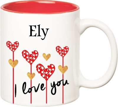 Huppme I Love You Ely Inner Red  (350 ml) Ceramic Mug