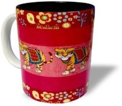 Blue Sky Designz Decorated Tiger - Dark Pink Ceramic Mug