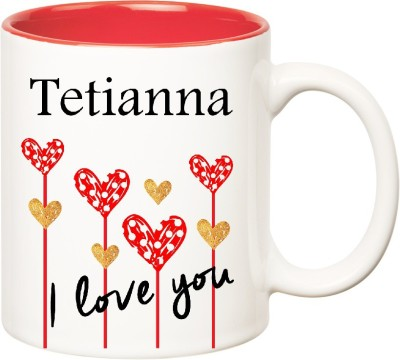 Huppme I Love You Tetianna Inner Red (350 ml) Ceramic Mug(350 ml) at flipkart