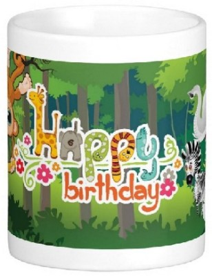 Easyhome Happy Birthday Jungle Book Theme Ceramic Mug