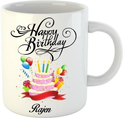 Huppme Happy Birthday Rajen White  (350 ml) Ceramic Mug