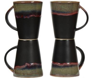 Inhomez Black Studio Stoneware Ceramic Coffee/Milk- Set of 4 Ceramic, Pottery Mug
