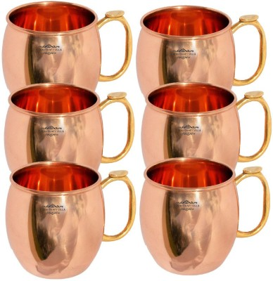 Indian Craft Villa IndianCraftVilla Handmade Set Of 6 Moscow Mule  Pure Copper Volume 530 ML for use Restaurant Ware Bar Ware Beer Cup Vodka Hotel Ware Copper Mug