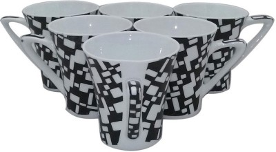 Classique Black And White Coffee/ Tea Cups Set Of 6 Pieces (CLMG2398) Made Of Bone China Mug