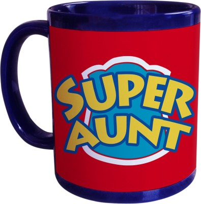 Sajawat Homes Gifts For Super Aunt Blue Coffee Ceramic Mug