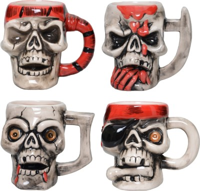 Lifestyle-You 4 Pcs Creepy Cool Pirate Skull  Ceramic Mug