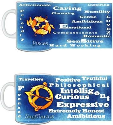 CreativesKart Zodiac Pisces (M) Sagittarius (F) Compatibility  Ceramic Mug