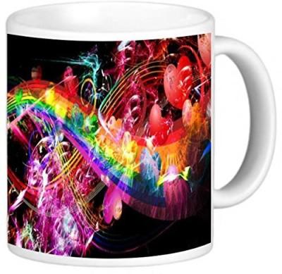 Rikki Knight LLC Knight Photo Quality Ceramic Coffee , 11 oz, Love and Hearts Rainbow Design Ceramic Mug
