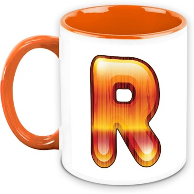 HomeSoGood Flamboyant Orange Alphabet R Ceramic Mug