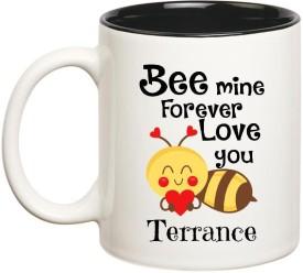 Huppme Love You Terrance Bee mine Forever Inner Black Ceramic Mug(350 ml)