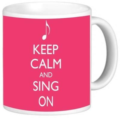 Rikki Knight LLC Knight Ceramic Coffee , Keep Calm and Sing on Tropical Pink Color Ceramic Mug