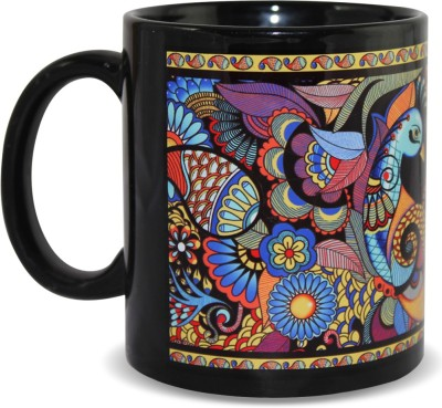 Kolorobia Colourful Peacock Black Ceramic Mug