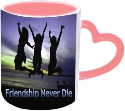 Jiyacreation1 Friendship Never Die Pink Heart Handle Ceramic Mug