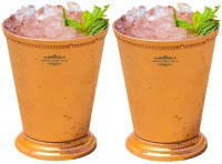 "Indian Craft Villa Indian Craft Villa Handmade Set Of 2 Mint Julep Cup - 100% Solid Pure Copper 400 ML- 13oz Beaded 4.5"" Tall - Traveller"