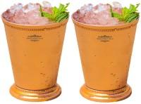 "Indian Craft Villa Indian Craft Villa Handmade Set Of 2 Mint Julep Cup - 100% Solid Pure Copper 400 ML- 13oz Beaded 4.5"" Tall - Traveller"