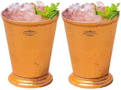 Indian Craft Villa Indian Craft Villa Handmade Set Of 2 Mint Julep Cup - 100% Solid Pure Copper 400 ML- 13oz Beaded 4.5