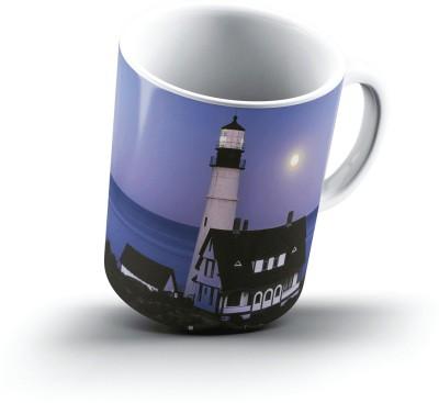 Ucard Moon Rise Over Portland Head Lighthouse Portland Maine2500 Bone China, Ceramic, Porcelain Mug