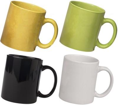 Snapgalaxy Yellow Green Black and White Combo Pack 4pcs Ceramic Mug