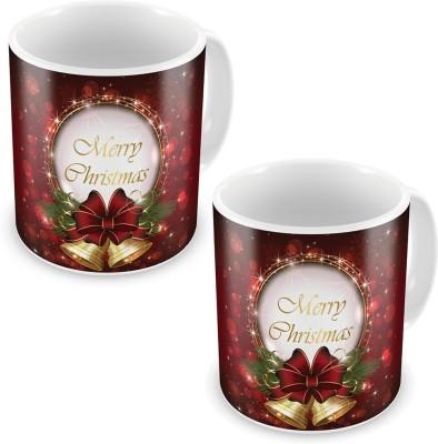 Indian Gift Emporium Printed Fancy Style Maroon Coffee s Pair 606 Ceramic Mug